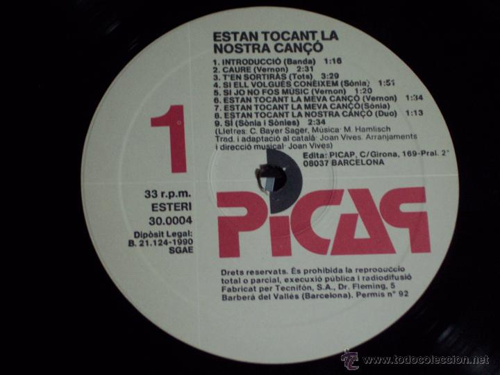 Discos de vinilo: LP ESTAN TOCANT LA NOSTRA COANÇÓ (EN EXCELENTE ESTADO) PICAP-1990 - Foto 3 - 54004255