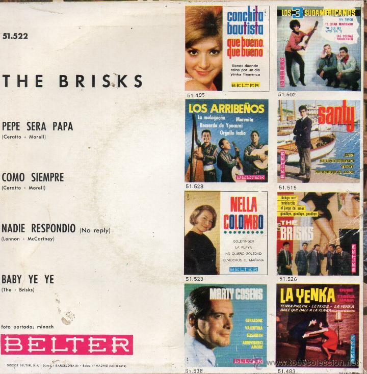 Discos de vinilo: BRISKS, THE, EP, NADIE RESPONDIO (NO REPLY - BEATLES) + 3, AÑO 1965 - Foto 2 - 54030942