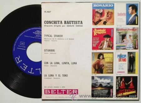 Discos de vinilo: CONCHITA BAUTISTA -EP- TYPICAL SPANISH + 3 OR SPAIN 60'S - Foto 2 - 54066589