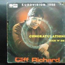 Discos de vinilo: DISCO SINGLE CLIFF RICHARD EUROVISION 1968 VINILO MUSICA POP ROCK 80'S ESTEREO DISCOGRAFICA CBS HIT. Lote 54099793