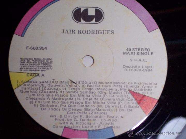 Discos de vinilo: MAXI SINGLE - JAIR RODRIGUES (SAMBA SAMBAO) SPAIN - ARIOLA - 1984 - Foto 4 - 54161198