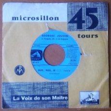 Discos de vinilo: GEORGES JOUVIN. LES MAINS DANS LE VENT, PILOU PILOU HE. 45 RPM. LA VOIX DE SON MAÎTRE. FRANCE.. Lote 54181077