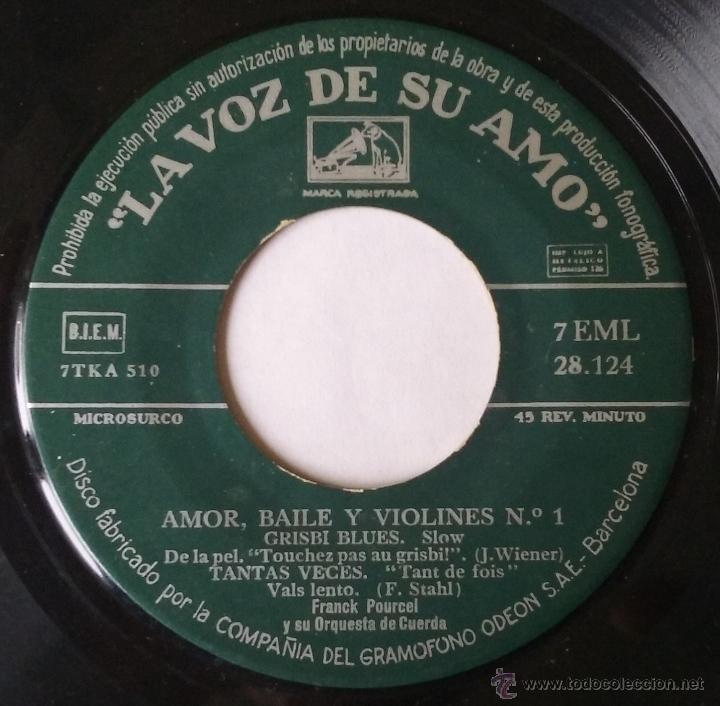 Discos de vinilo: FRANCK POURCEL. AMOR, BAILE Y VIOLINES Nº1. EP. LA VOZ DE SU AMO. VINILO SIN PORTADA. - Foto 2 - 54182605