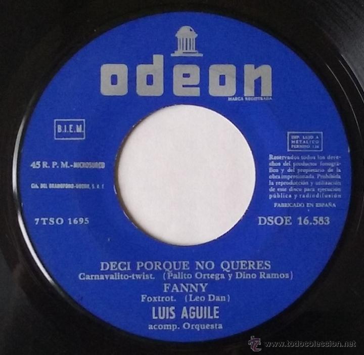 LUIS AGUILE. PREGUNTASELO A FRIZZI, DESATA MI CORAZON...ODEON. 1964. VINILO SIN PORTADA. (Música - Discos de Vinilo - EPs - Grupos y Solistas de latinoamérica)