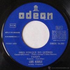 Discos de vinilo: LUIS AGUILE. PREGUNTASELO A FRIZZI, DESATA MI CORAZON...ODEON. 1964. VINILO SIN PORTADA.. Lote 54183725