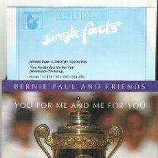 Discos de vinilo: BERNIE PAUL SINGLE YOU FOR ME AND ME FOR YOU .1990.ALEMANIA. Lote 54187531