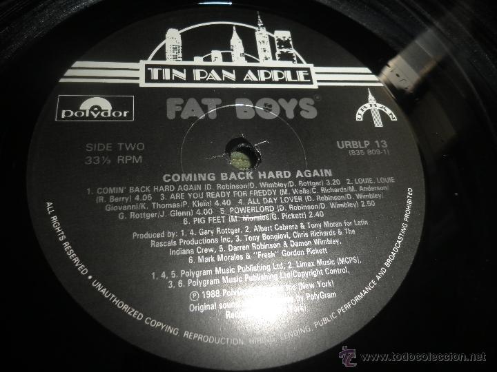 Discos de vinilo: FAT BOYS - COMMIMNG BACK HARD AGAIN LP - ORIGINAL INGLES - TIN PAN APPLE / POLYDOR 1988 MUY NUEVO 5 - Foto 12 - 54194164