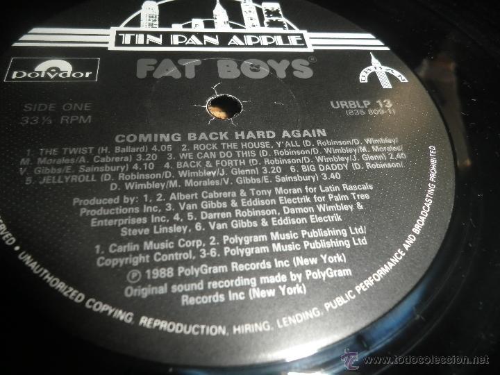 Discos de vinilo: FAT BOYS - COMMIMNG BACK HARD AGAIN LP - ORIGINAL INGLES - TIN PAN APPLE / POLYDOR 1988 MUY NUEVO 5 - Foto 14 - 54194164