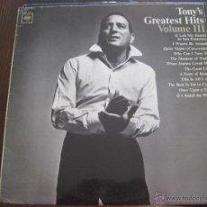 Discos de vinilo: TONY BENNETT - TONY'S GREATEST HITS VOLUME III - LP COLUMBIA USA 1965. Lote 54204550