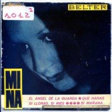 Discos de vinilo: MINA / EL ANGEL DE LA GUARDA / SI LLORAS, SI RIES + 2 (EP 1965). Lote 54219989