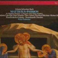 Discos de vinilo: CAJA BACH : MATTHAUS PASSION (PASION SAN MATEO ) ( STAATSKAPELLE DRESDEN, LUCIA POPP ). Lote 54247330