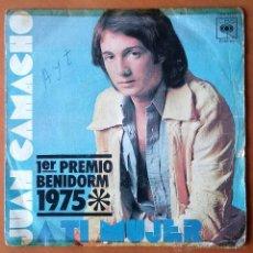 Discos de vinilo: JUAN CAMACHO. A TI MUJER. LORENA. SINGLE. CBS 3421. 1975.. Lote 54253444