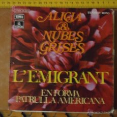 Discos de vinilo: PEQUEÑO DISCO SINGLE - ALICIA NUBES GRISES L´EMIGRANT. Lote 54256282