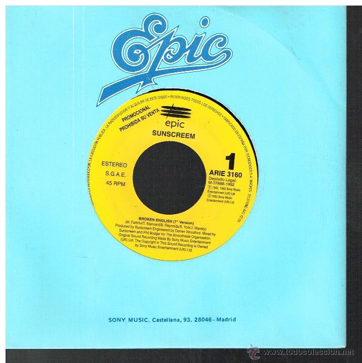 SUNSCREEM - BROKEN ENGLISH - SINGLE 1992 - PROMO (Música - Discos - Singles Vinilo - Pop - Rock Extranjero de los 90 a la actualidad)