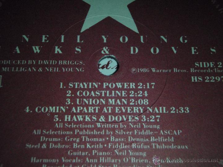 Discos de vinilo: NEIL YOUNG ( HAWKS & DOVES ) USA - 1980 LP33 WARNER BROS RECORDS - Foto 5 - 947701