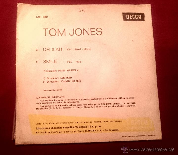 Discos de vinilo: TOM JONES - DELILAH - DECCA 1967 - Foto 2 - 54325264