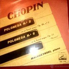 Discos de vinilo: CHOPIN - POLONESAS Nº 2 Y 6 - PIANO MALCUZYNSKI - LA VOZ DE TU AMO 1.958. Lote 54325936