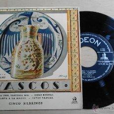 Discos de vinilo: .1 EP DE LOS CINCO BILBAINOS ** VASCOS - ASÍ ERES, VASCONIA MÍA ** Y 3 MAS - ODEON. Lote 54334853