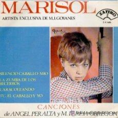 Discos de vinilo: MARISOL: SILENCIO CABALLO MIO + LA ZUMBA DE LOS BECERROS + CARACOLEANDO +1. Lote 54340409