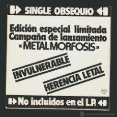 Discos de vinilo: BARÓN ROJO, INVULNERABLE - HERENCIA LETAL.PROMO, LANZAMIENTO METALMORFOSIS -SINGLE.CHAPA DISCOS1983.. Lote 54361529