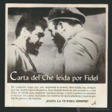 Discos de vinilo: CARTA DEL CHE LEÍDA POR FIDEL.-DISCURSO 3 DE OCTUBRE DE 1965-HIMNO DEL GUERRILLERO.SINGLE EGREM-MC. Lote 54361740
