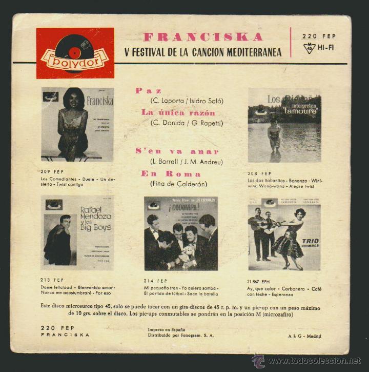 Discos de vinilo: Franciska - V Festival De La Cancion Mediterranea - S, en va anar + 3.-EP Polydor 1963 - Foto 2 - 54362415