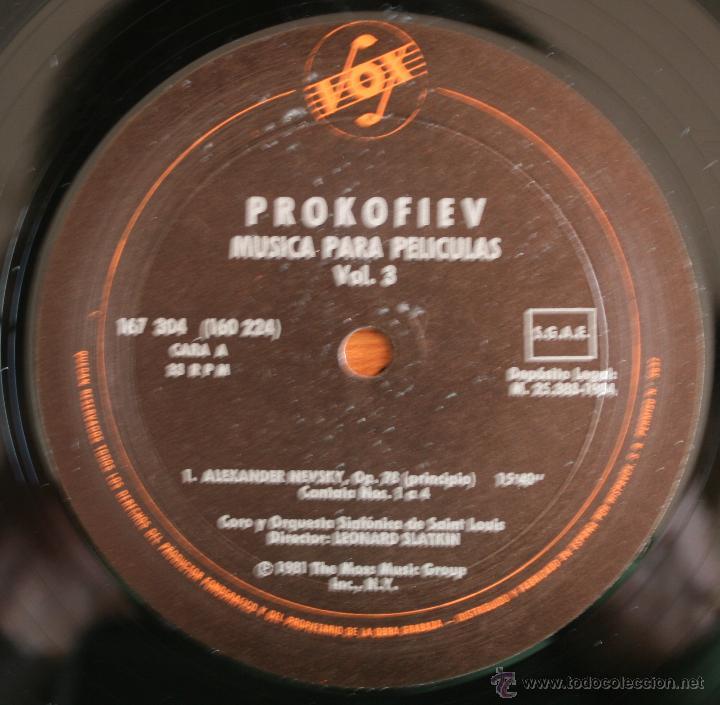 Discos de vinilo: COLECCIÓN DE 3 VOLUMENES DE DISCOS DE VINILO PROKOFIEV: MUSICA PARA PELICULAS – HISPA VOX - - Foto 6 - 54367960