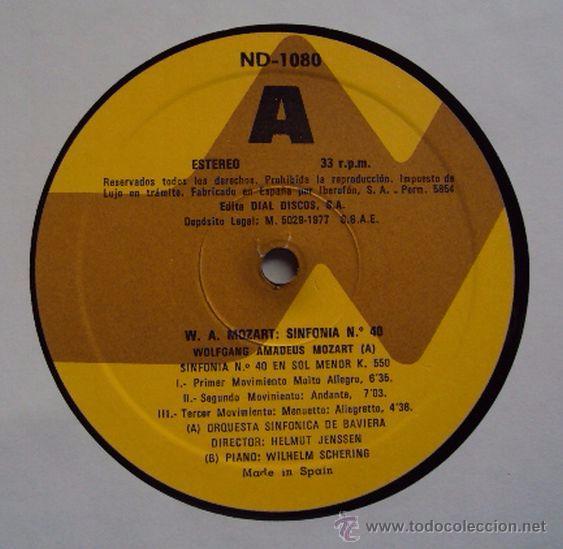 Discos de vinilo: MOZART: SINFONIA Nº 40 EN SOL MENOR K550. HELMUT JENSSEN Y WILHELM SCHERING (PIANO) SIN ESCUCHAR - Foto 4 - 54370624