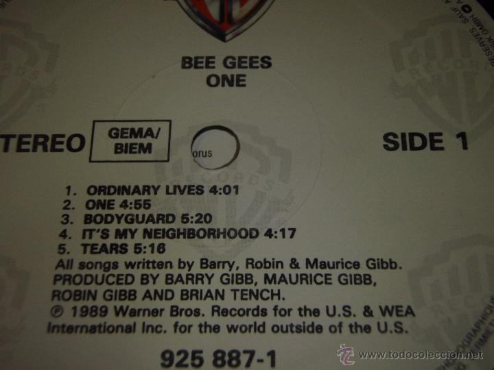 Discos de vinilo: BEE GEES ( ONE ) 1989 - GERMANY LP33 WARNER BROS RECORDS - Foto 5 - 54434717