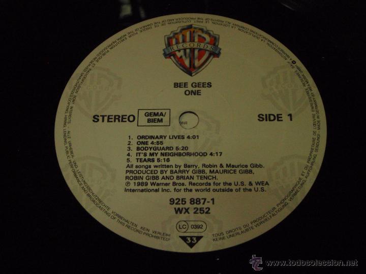Discos de vinilo: BEE GEES ( ONE ) 1989 - GERMANY LP33 WARNER BROS RECORDS - Foto 6 - 54434717