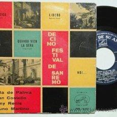 Discos de vinilo: SAN REMO 1960 -EP- JULA DE PALMA, GIAN COSTELLO, TONY RENIS, BRUNO MARTINO OR SPAIN 60'S. Lote 54456676