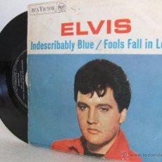 Discos de vinilo: ELVIS PRESLEY (PROMO) - INDISCRABABLY BLUE / FOOLS FALL IN LOVE - RCA 3-10214, 1967 (VG A G+). Lote 52107223