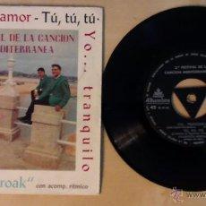 Discos de vinilo: CUARTETO SOROAK- 2º FESTIVAL DE LA CANCION MEDITERRANEA- EP 7' 1960 ALHAMBRA. Lote 54553109