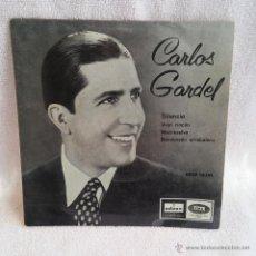 Discos de vinilo: DISCO SINGLE CARLOS GARDEL SILENCIO, 1ª RECONTRUCION TECNICA DE 1957 Y EDITADO EN 1958 POR ODEON.. Lote 54574430