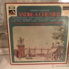 Discos de vinilo: UMBERTO GIORDANO.- ANDREA CHENIER.- DIR.-O. DE FABRITIIS..-ESTUCHE 2 LPS-+ LIBRO. Lote 54576552