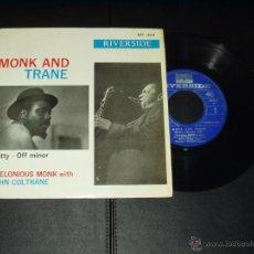 Discos de vinilo: THELONIOUS MONK WITH JOHN COLTRANE EP NUTTY+3 . Lote 54576633