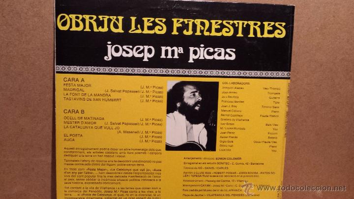 Discos de vinilo: JOSEP Mª PICAS. OBRIU LES FINESTRES. LP / EDA - 1979 / CALIDAD LUJO. ****/**** - Foto 2 - 54583370