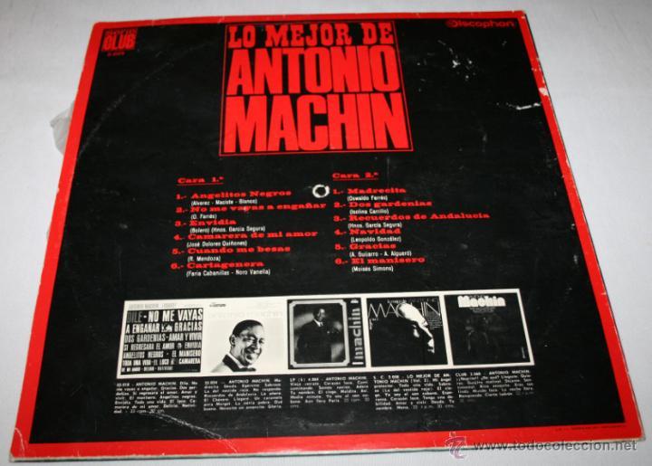 Discos de vinilo: LO MEJOR DE ANTONIO MACHIN,SERIE CLUB, DISCOPHON 1967, DISCO DE VINILO LP 12 CANCIONES - Foto 2 - 54606990