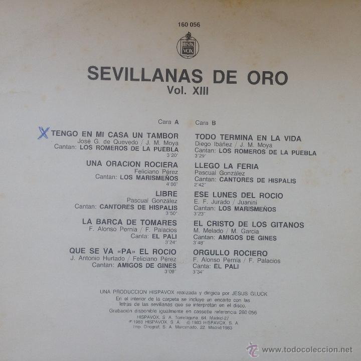 Discos de vinilo: Sevillanas De Oro XIII - LP . 1983 HISPAVOX - Foto 2 - 54607949