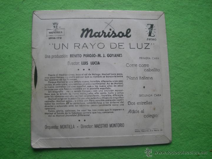 Discos de vinilo: MARISOL UN RAYO DE LUZ EP SPAIN 1960 PDELUXE - Foto 2 - 54622050