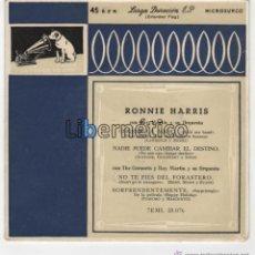 Discos de vinilo: RONNIE HARRIS. CÓGEME LA MANO. LA VOZ DE SU AMO 1955. Lote 54646776