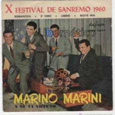 Discos de vinilo: MARINO MARINI Y SU CUARTETO. X FESTIVAL DE SAN REMO 1960. SELLO DURIUM 1960. Lote 54646915