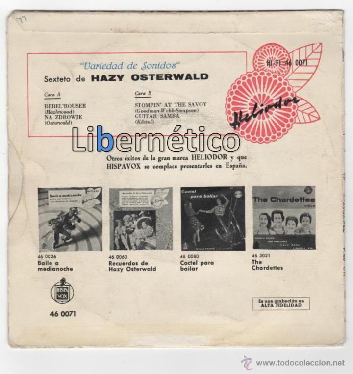 Discos de vinilo: Sexteto de Hazy Osterwlad. Rebeld´Rouser. Hispavox 1959 - Foto 2 - 54648459