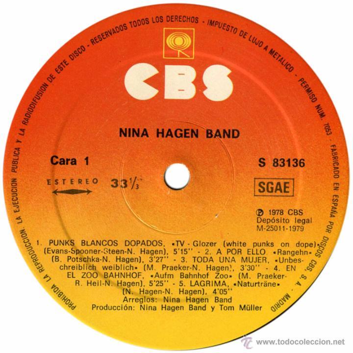 Discos de vinilo: Nina Hagen Band – 1er Lp - Lp Spain 1979 - CBS S 83136 - Foto 3 - 54664611