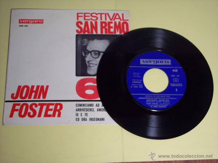 Discos de vinilo: EP FESTIVAL SAN REMO65 - JOHN FOSTER (COMINCIAMO AD AMARCI / + 3) VERGARA-1965 - Foto 2 - 54673446