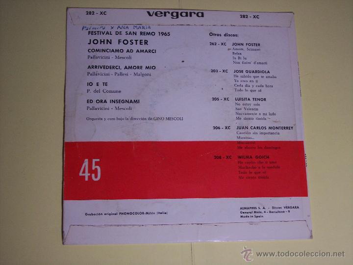 Discos de vinilo: EP FESTIVAL SAN REMO65 - JOHN FOSTER (COMINCIAMO AD AMARCI / + 3) VERGARA-1965 - Foto 4 - 54673446