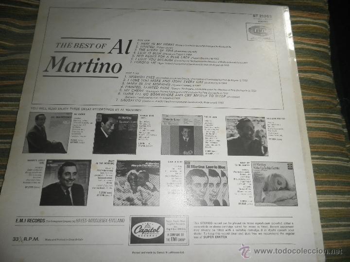 Discos de vinilo: AL MARTINO - THE BEST OF AL MARTINO LP - ORIGINAL INGLES - CAPITOL RECORDS 1970 - - Foto 2 - 54693562