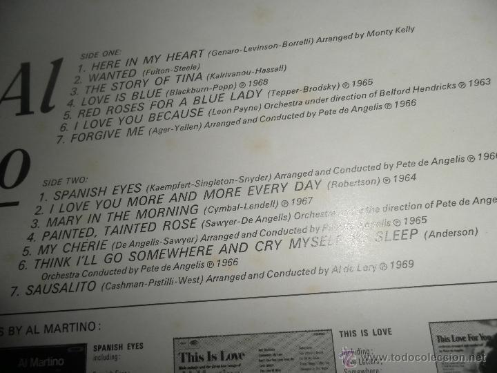 Discos de vinilo: AL MARTINO - THE BEST OF AL MARTINO LP - ORIGINAL INGLES - CAPITOL RECORDS 1970 - - Foto 6 - 54693562