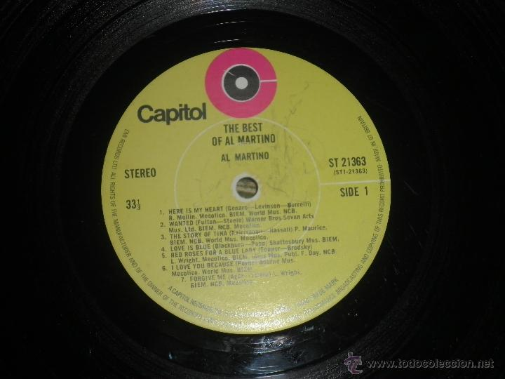 Discos de vinilo: AL MARTINO - THE BEST OF AL MARTINO LP - ORIGINAL INGLES - CAPITOL RECORDS 1970 - - Foto 8 - 54693562