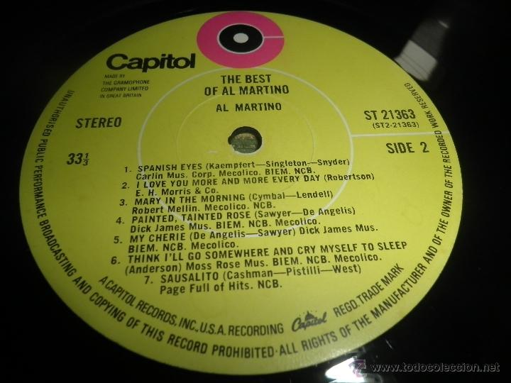 Discos de vinilo: AL MARTINO - THE BEST OF AL MARTINO LP - ORIGINAL INGLES - CAPITOL RECORDS 1970 - - Foto 12 - 54693562